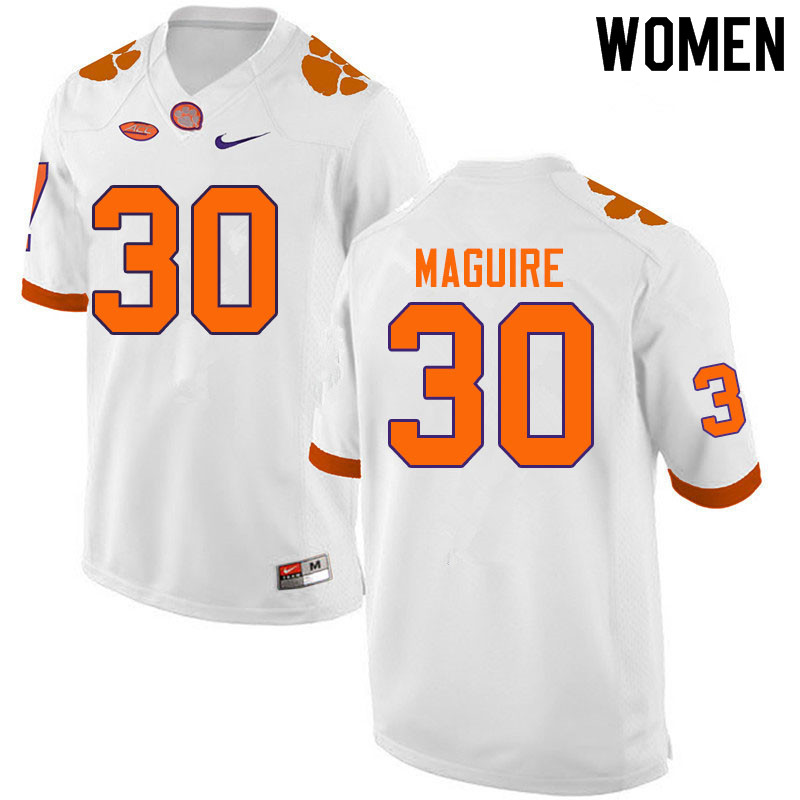 Women #30 Keith Maguire Clemson Tigers College Football Jerseys Sale-White